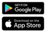 Logos von Google Play Store und App Store, wo der Ticketscanner von Connfair erhältlich ist.
